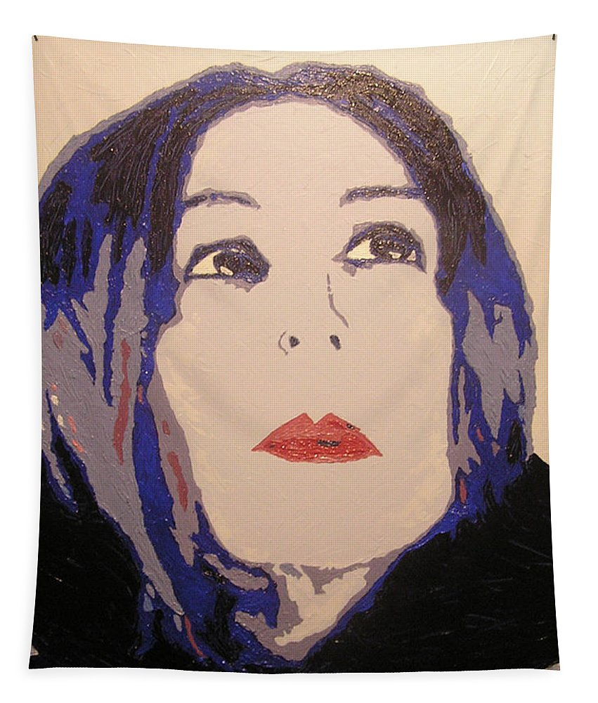 Portrait Tapestry featuring the painting Beauty Beyond the Blue by Ricklene Wren