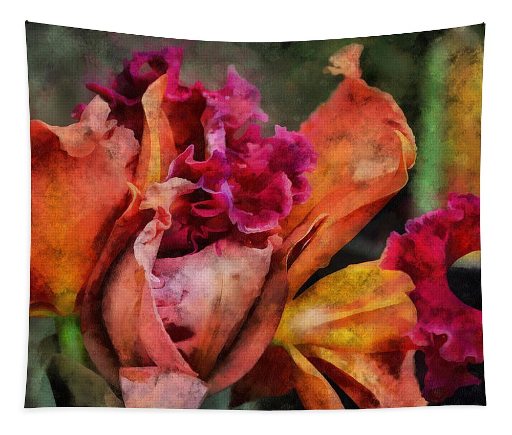 Flower Tapestry featuring the mixed media Beauty Of An Orchid by Trish Tritz