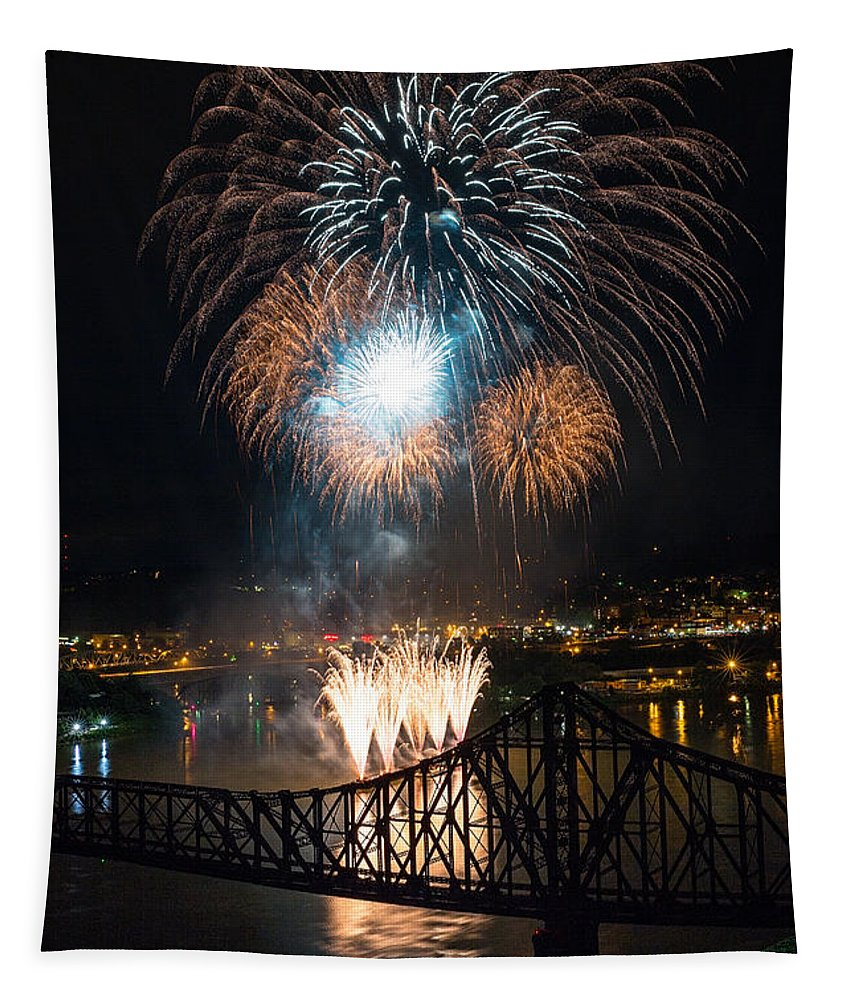 Beaver Tapestry featuring the photograph Beaver County Fireworks 2 by Emmanuel Panagiotakis
