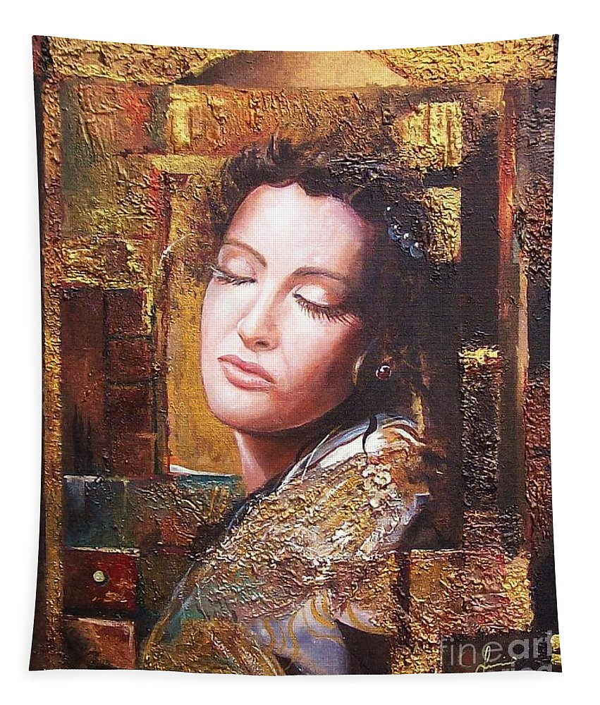 Female Portrait Tapestry featuring the painting Because You Are Beautiful by Sinisa Saratlic
