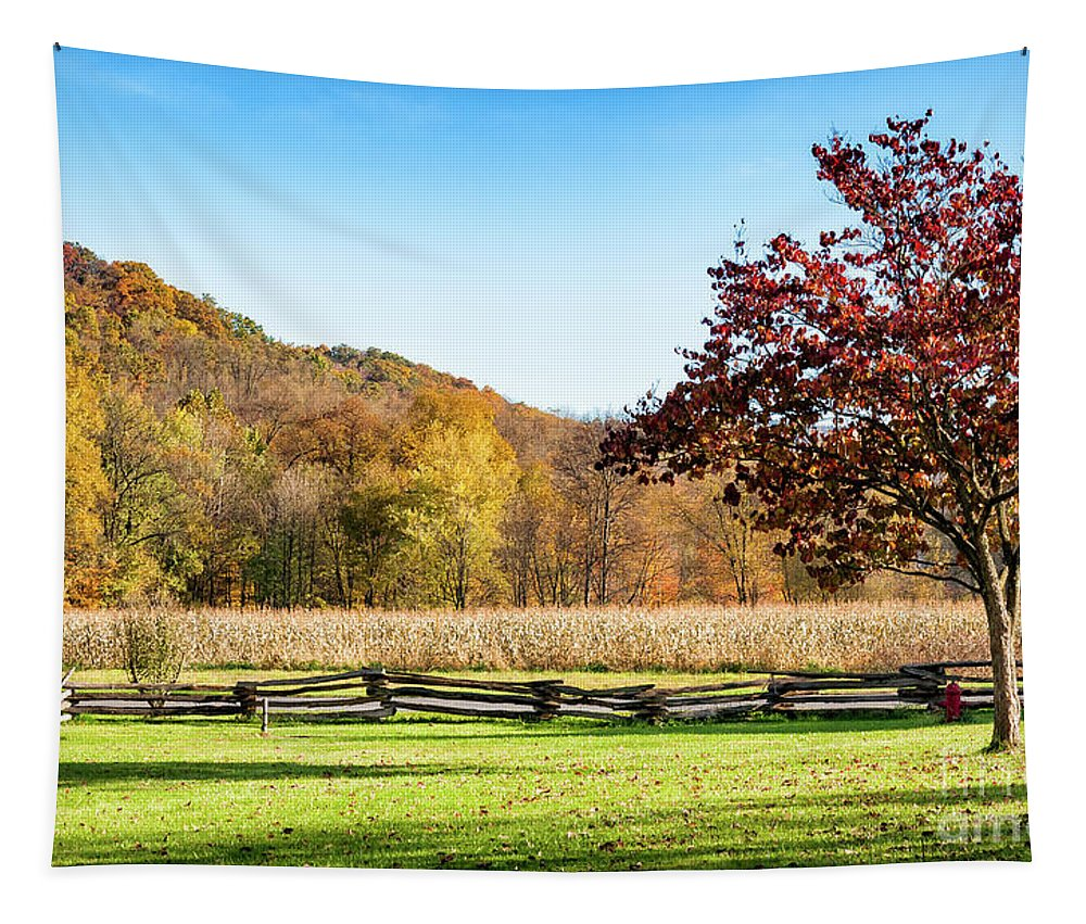 Split Rail Tapestry featuring the photograph Bedford, Pa Fall Landscape by Kathleen K Parker