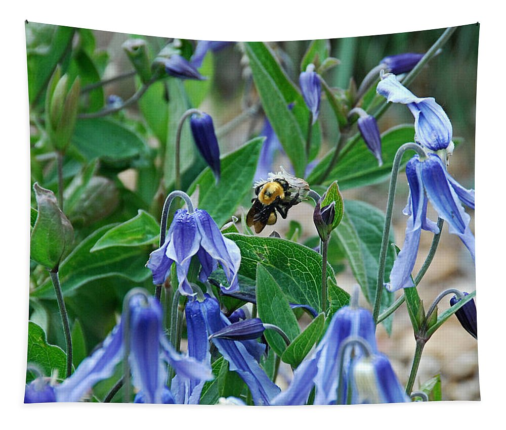 Bumblebee Tapestry featuring the photograph Bee Buzzing Through Blue Beauty by Katherine Nutt