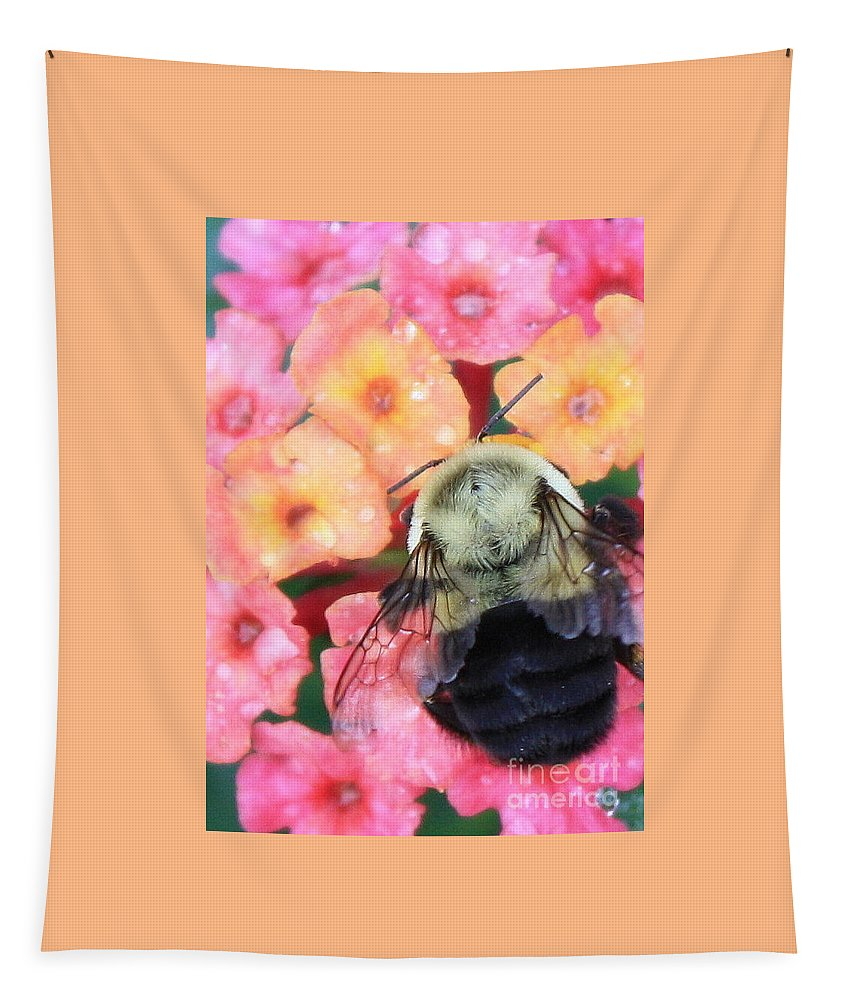 Bee Tapestry featuring the photograph Bee Card by Carol Groenen