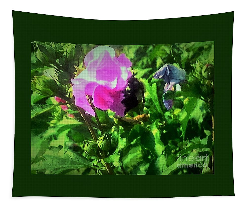 Pink Tapestry featuring the photograph Bee Climbing Into Flower by Debra Lynch
