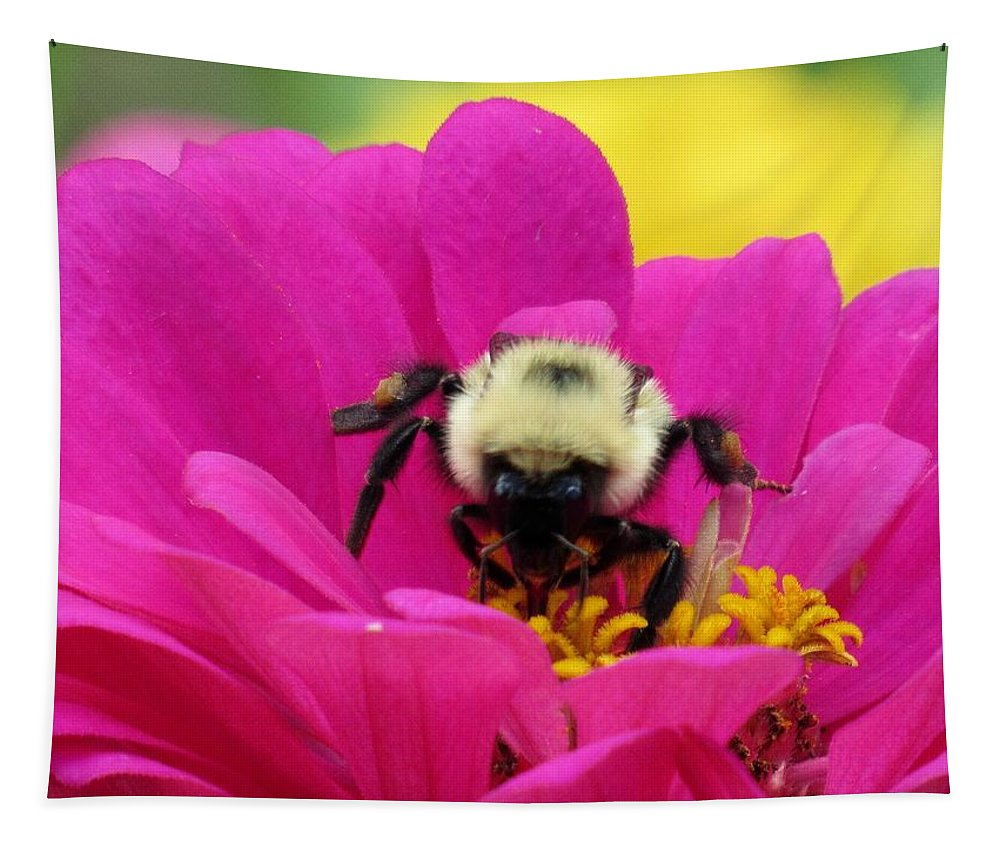 Lynne Miller Tapestry featuring the photograph Bee On A Hot Pink Zinnia by Lynne Miller
