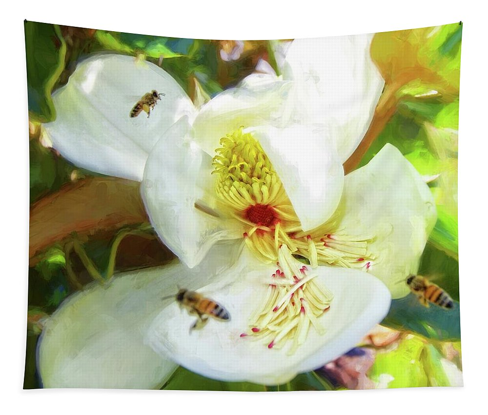 Alicegipsonphotographs Tapestry featuring the photograph Bees On Open Magnolia by Alice Gipson