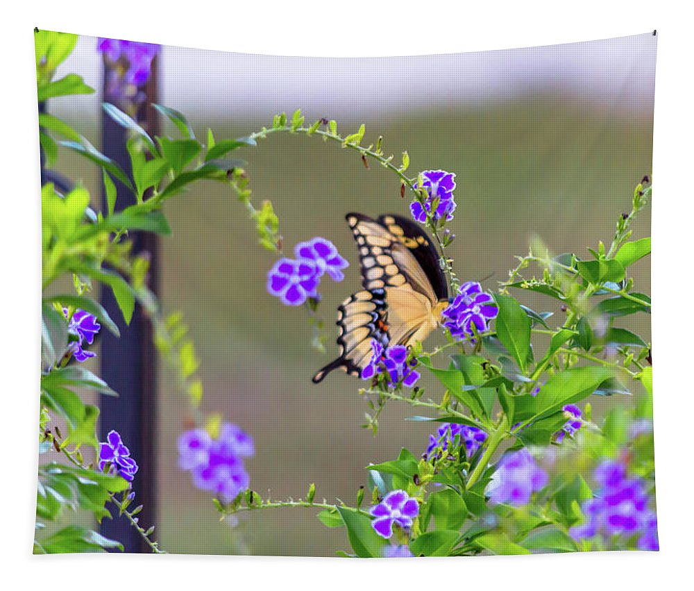 Butterfly Tapestry featuring the photograph Behind The Bush by Leticia Latocki