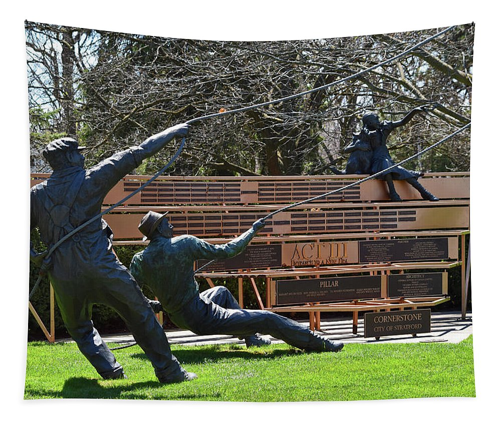 Statue Tapestry featuring the photograph Behind The Scenes by Maria Keady