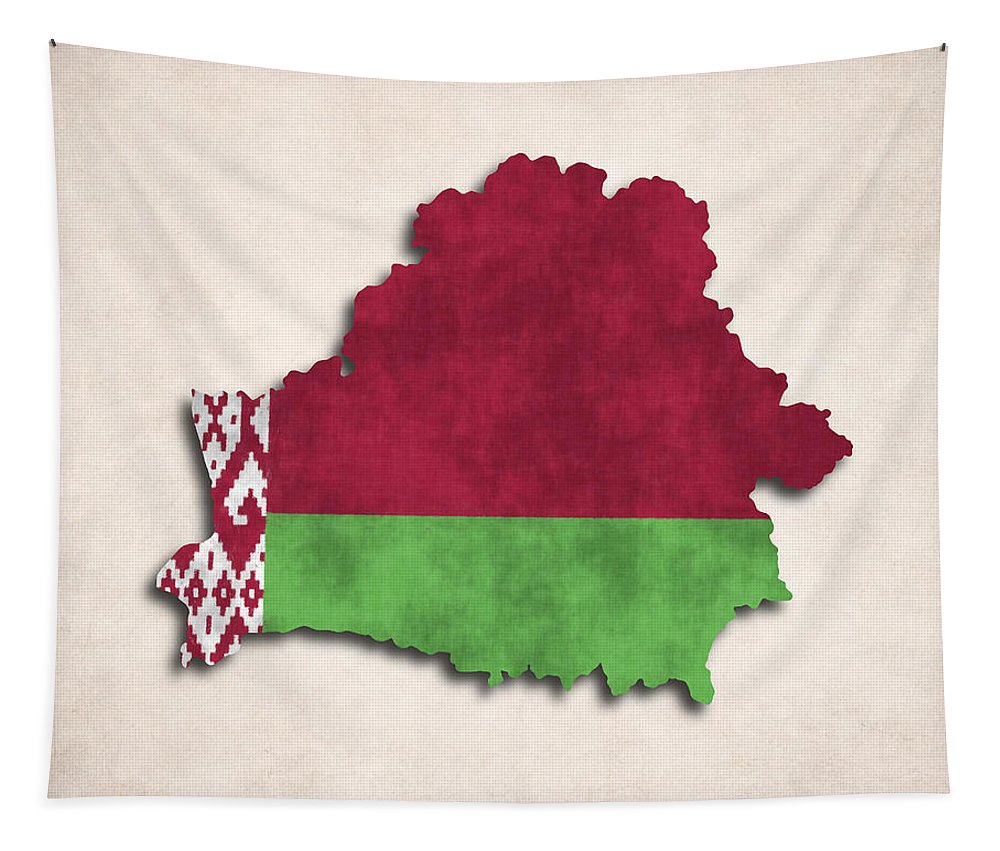 Belarus Tapestry featuring the digital art Belarus Map Art With Flag Design by World Art Prints And Designs