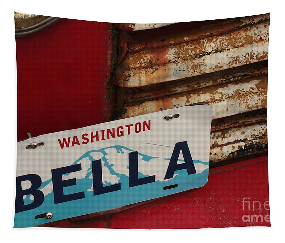 Bella Tapestry featuring the photograph Bella License Plate by Carol Groenen