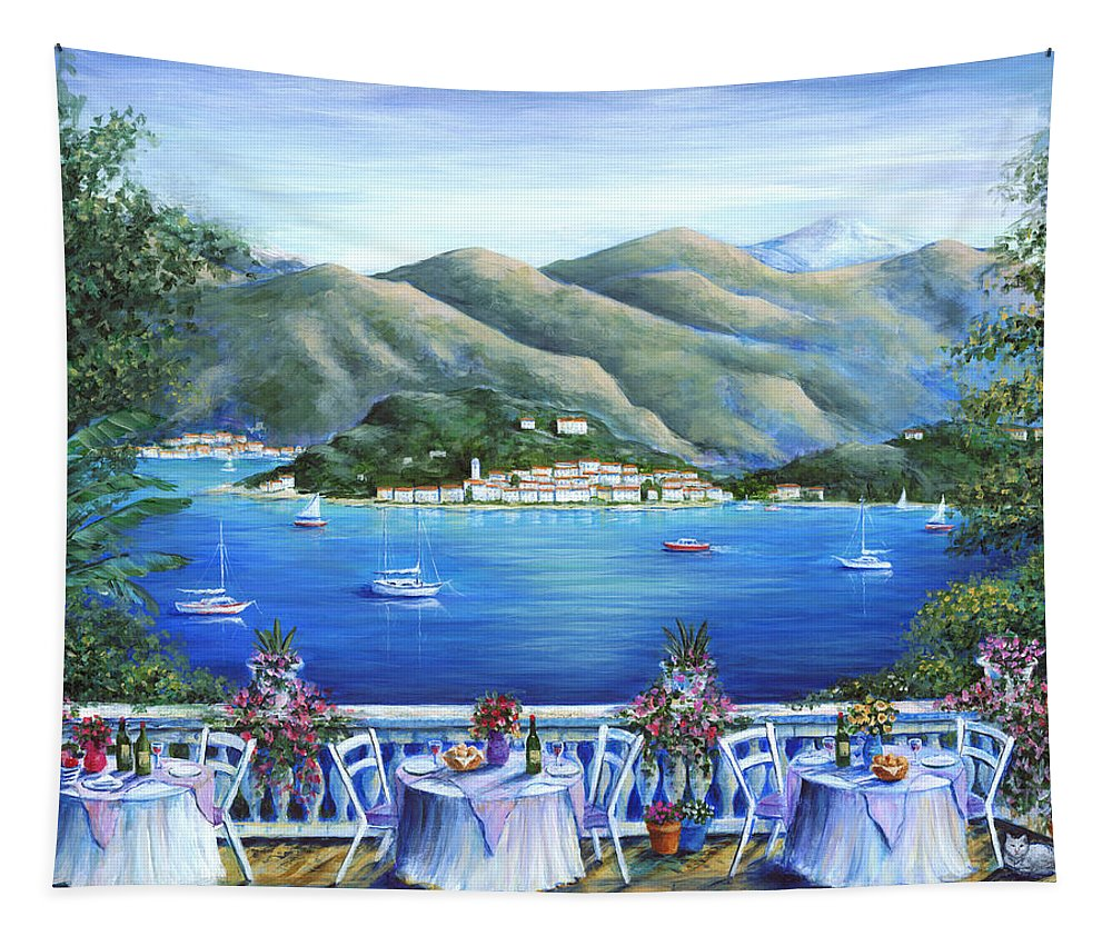 Bellagio Tapestry featuring the painting Bellagio From The Cafe by Marilyn Dunlap