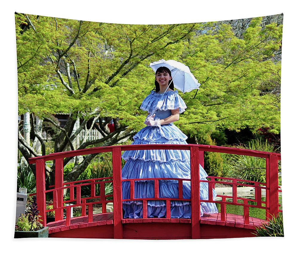 Southern Belle Tapestry featuring the photograph Belle On Red Bridge by Cynthia Guinn