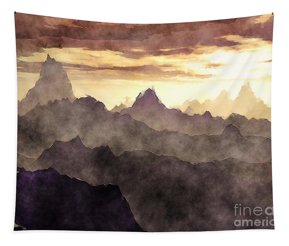Mountains Tapestry featuring the digital art Belzoni Mountain Range by Phil Perkins