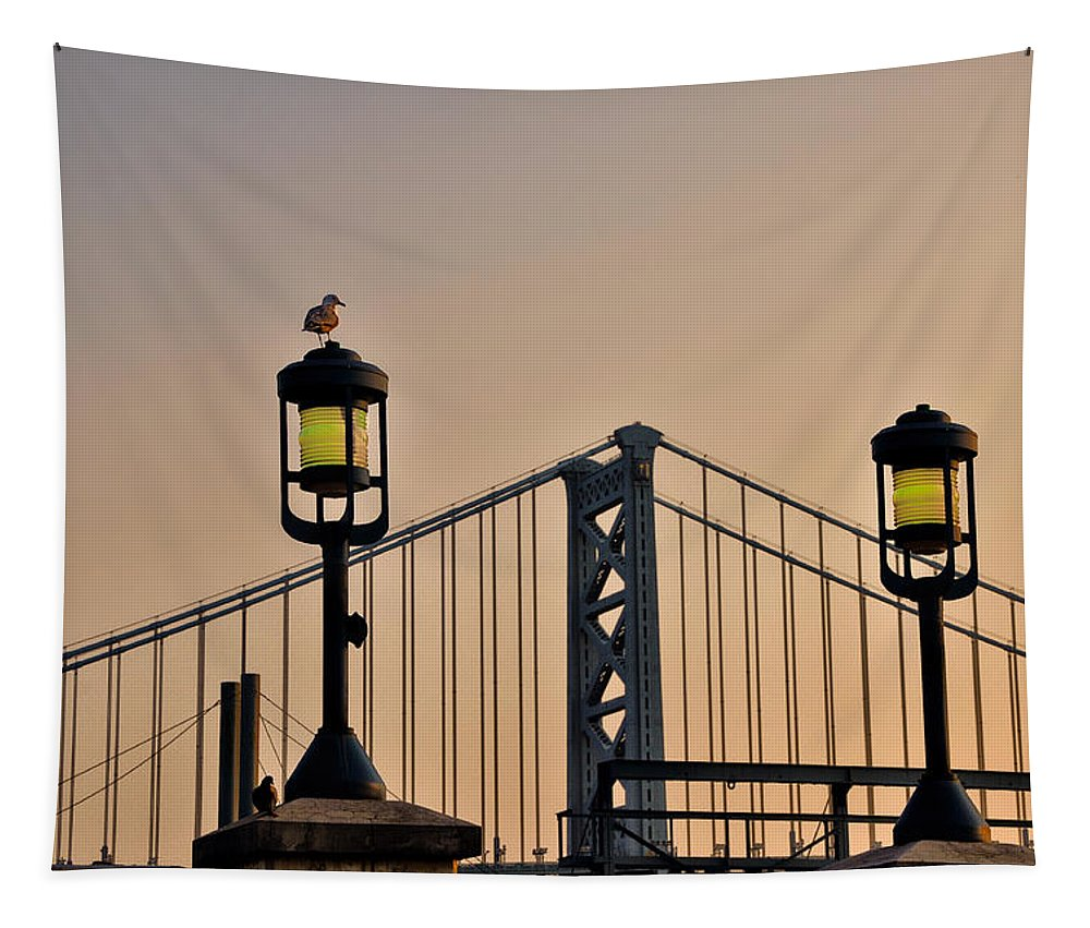 Ben Tapestry featuring the photograph Ben Franklin Bridge In Early Morning by Bill Cannon