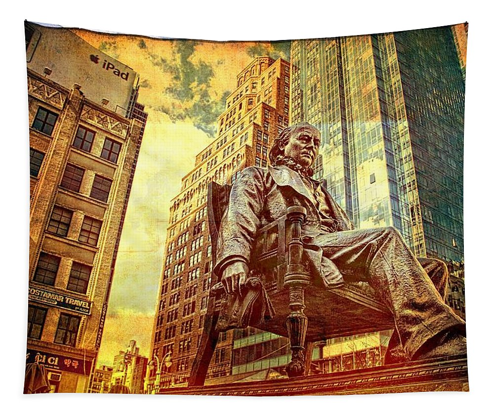 Benjamin Franklin Statue In Nyc Tapestry featuring the photograph Ben In New York City by Alice Gipson