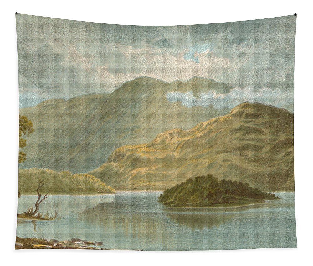 Scotland Tapestry featuring the painting Ben Venue And Ellen's Isle  Loch Katrine by English School