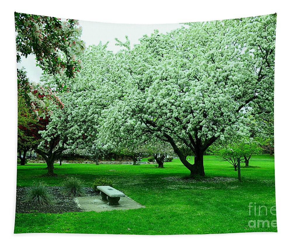 Spring Tapestry featuring the photograph Bench Among.the Blossoms by Jeff Swan