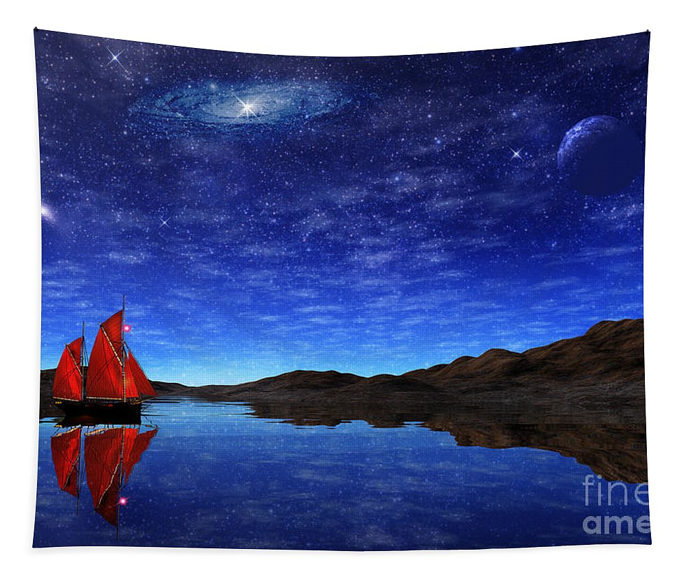 Boat Tapestry featuring the digital art Beneath A Jewelled Sky by John Edwards