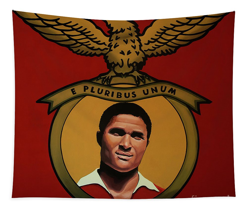 Eusebio Tapestry featuring the painting Benfica Lisbon Painting by Paul Meijering