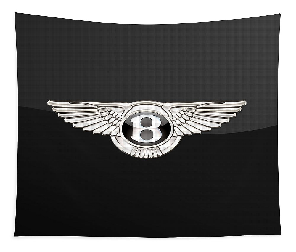 'wheels Of Fortune' By Serge Averbukh Tapestry featuring the photograph Bentley - 3 D Badge On Black by Serge Averbukh