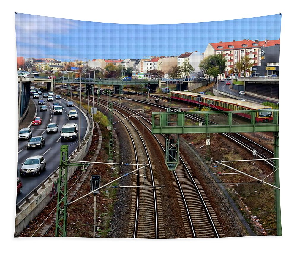 Bahn Tapestry featuring the photograph Berlin Expressway by Anthony Dezenzio
