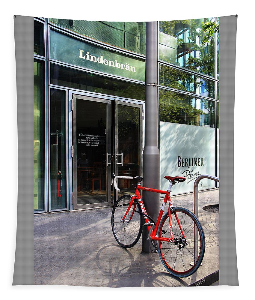 Bicycle Tapestry featuring the photograph Berlin Street View With Red Bike by Ben and Raisa Gertsberg