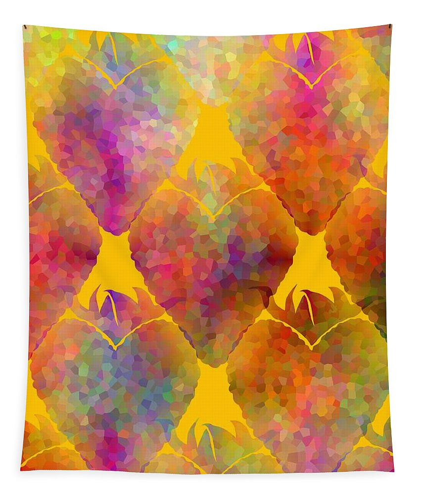 Contemporary Food Wall Art Tapestry featuring the digital art Berry Hearts - Food Pattern by Kathleen Sartoris