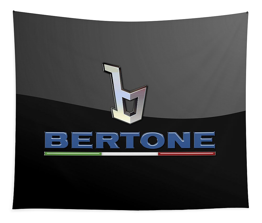 'auto Badges' Collection By Serge Averbukh Tapestry featuring the photograph Bertone - 3 D Badge On Black by Serge Averbukh