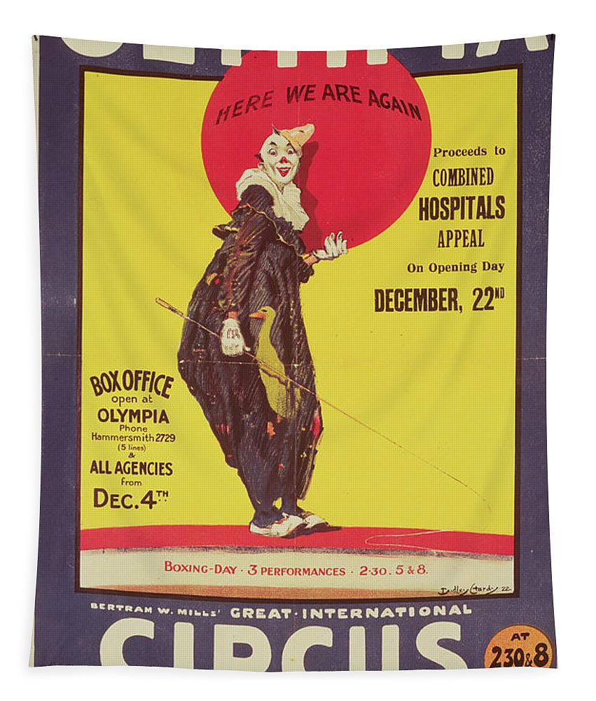 Bertram Mills Circus Poster Tapestry featuring the painting Bertram Mills Circus Poster by Dudley Hardy