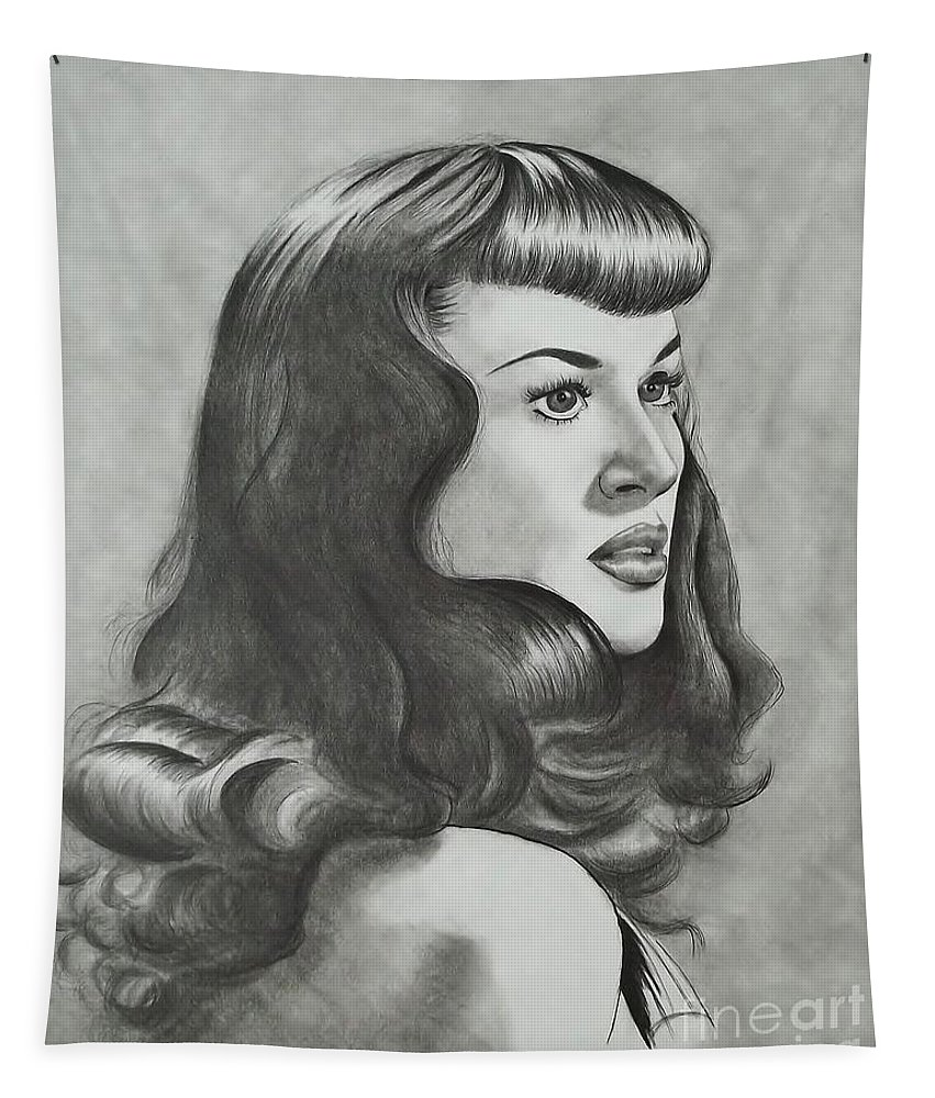 The Notorious Betty Page Tapestry featuring the drawing Betty Page by Lise PICHE