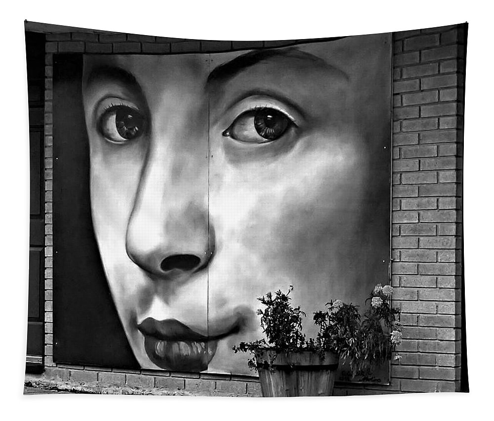 Street Art Tapestry featuring the photograph Between Closed Doors Bw by Steve Harrington