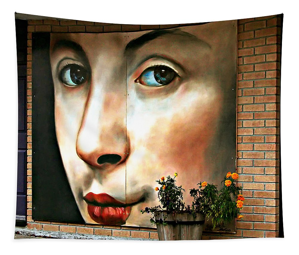 Street Art Tapestry featuring the photograph Between Closed Doors by Steve Harrington