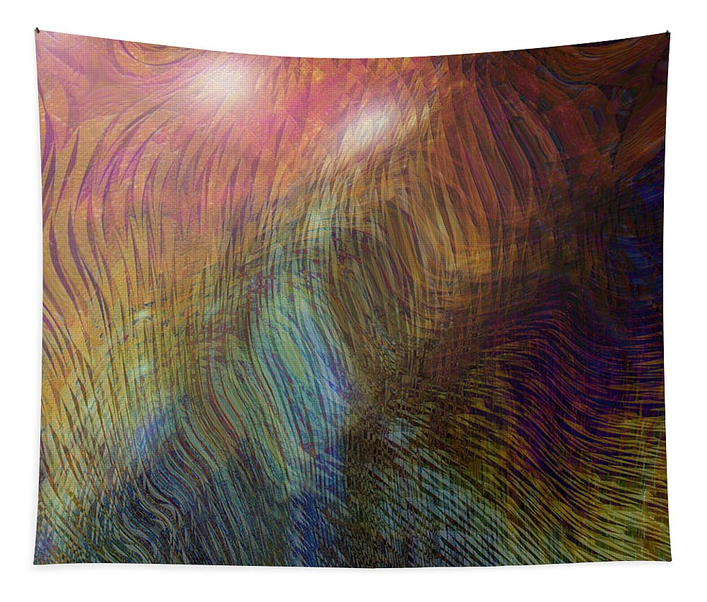Abstract Art Tapestry featuring the digital art Between The Lines by Linda Sannuti