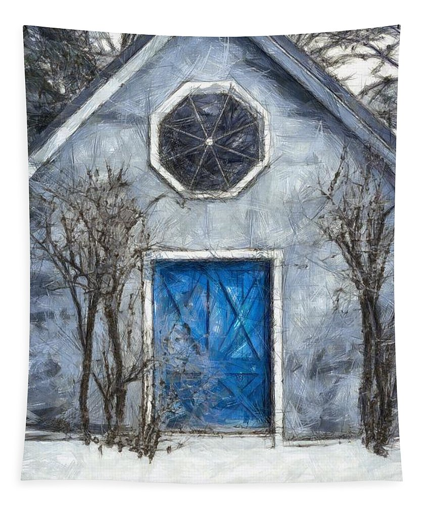 Blue Door Tapestry featuring the photograph Beyond The Blue Door Pencil by Edward Fielding