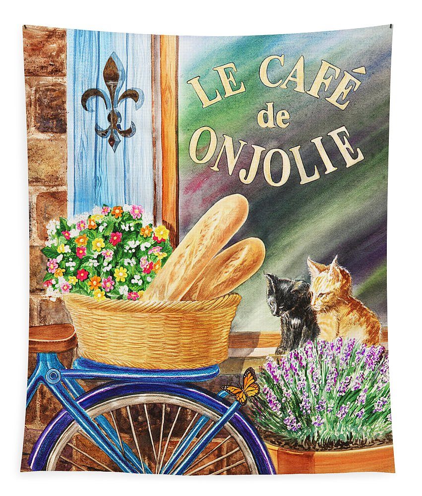 Window Tapestry featuring the painting Bicycle With Basket At The Cafe Window by Irina Sztukowski