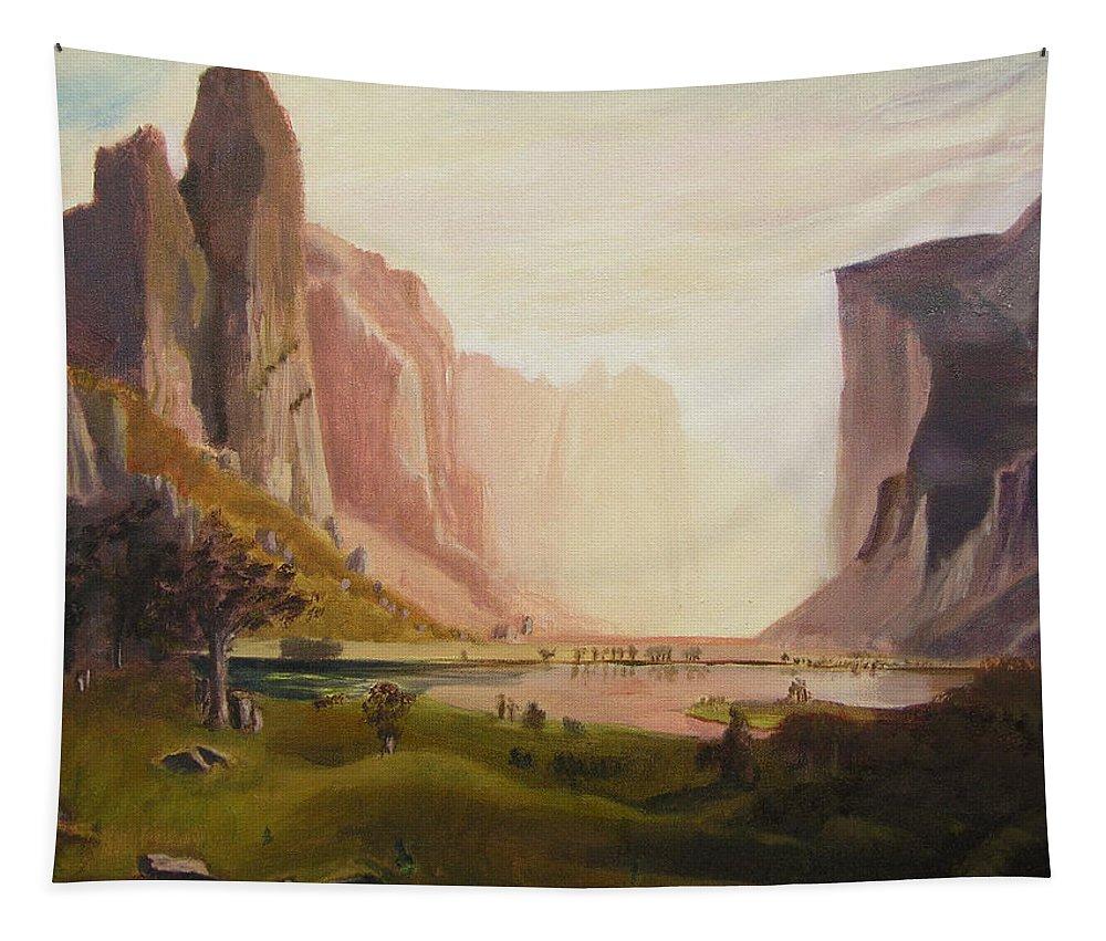Bierstadt Tapestry featuring the painting Bierstadt Rendition by Gail Eisenfeld