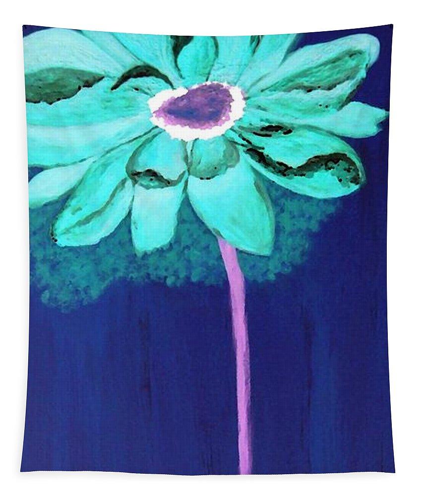 Digital Tapestry featuring the digital art Big Aqua Flower by Jamie Frier