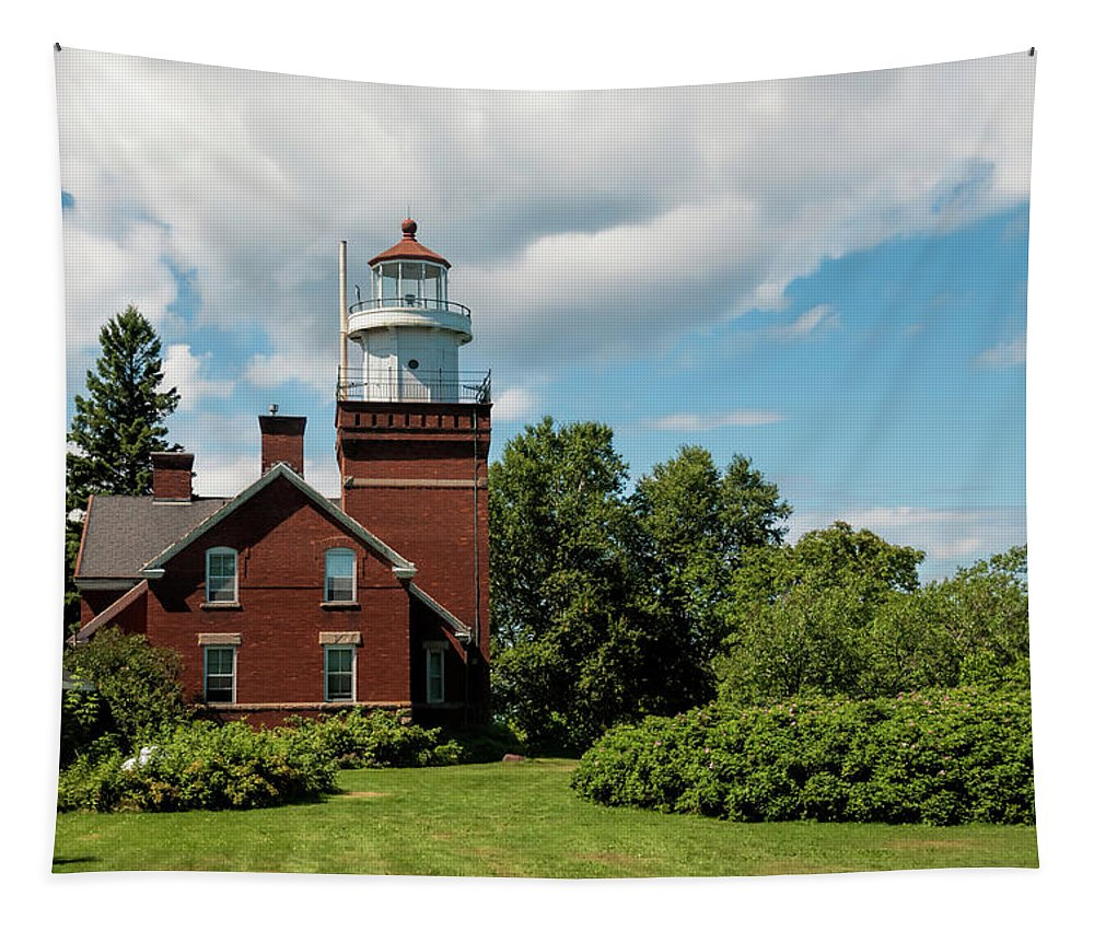 Big Bay Point Lighthouse Tapestry featuring the photograph Big Bay Point Lighthouse by Phyllis Taylor