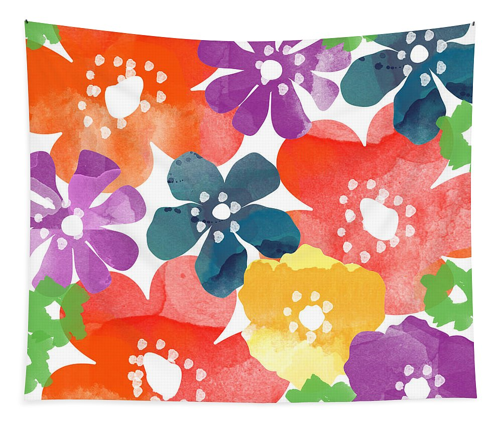 Flowers Tapestry featuring the painting Big Bright Flowers by Linda Woods