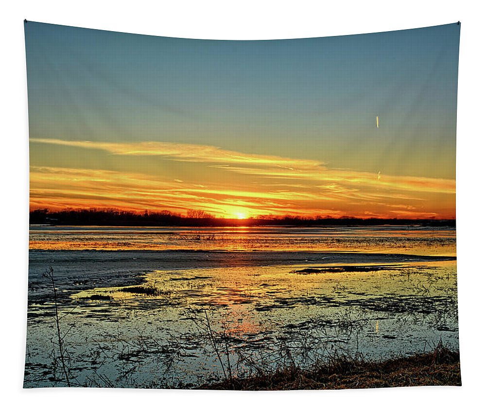 Sunset Tapestry featuring the photograph Big Marsh Sunset 2 by Bonfire Photography