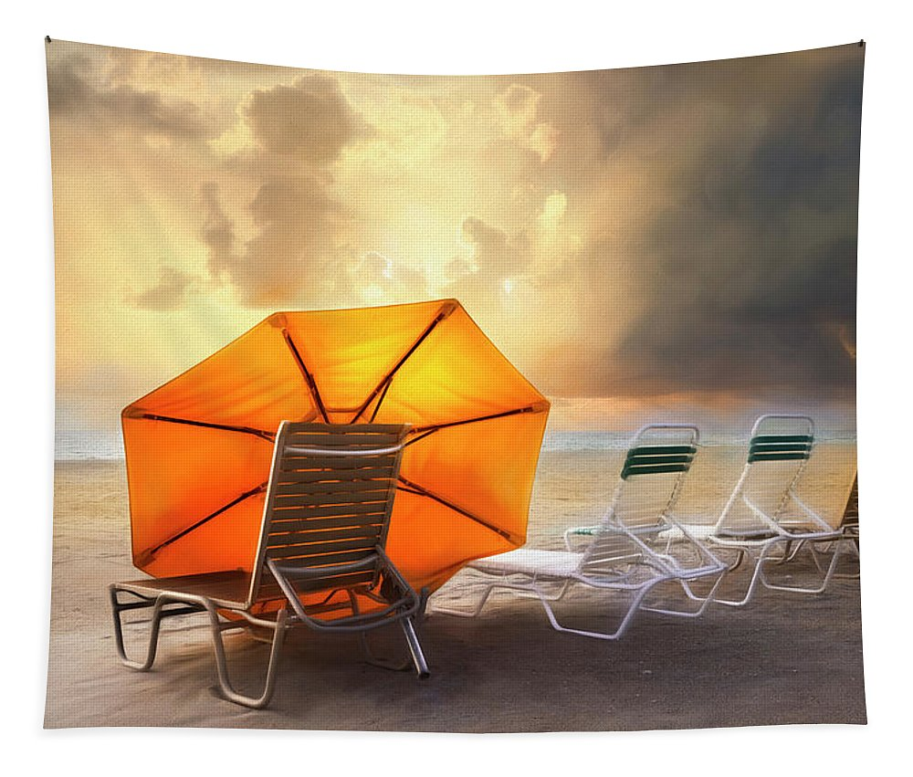 Clouds Tapestry featuring the photograph Big Orange Beach Umbrella Watercolor Painting by Debra and Dave Vanderlaan