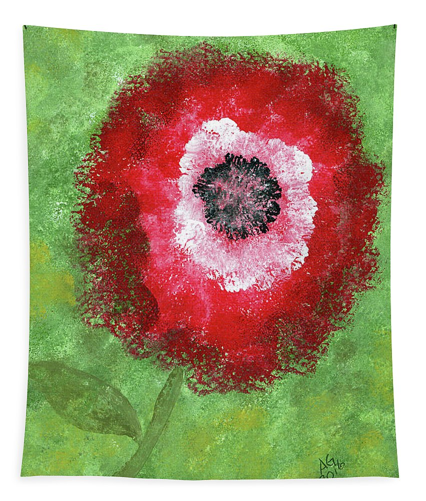 Abstract Tapestry featuring the painting Big Red Flower by Alexis Grone