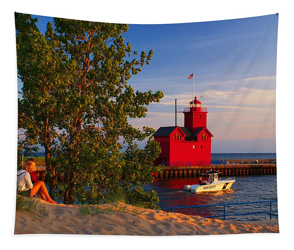 Attraction Tapestry featuring the photograph Big Red Lighthouse by Nick Zelinsky