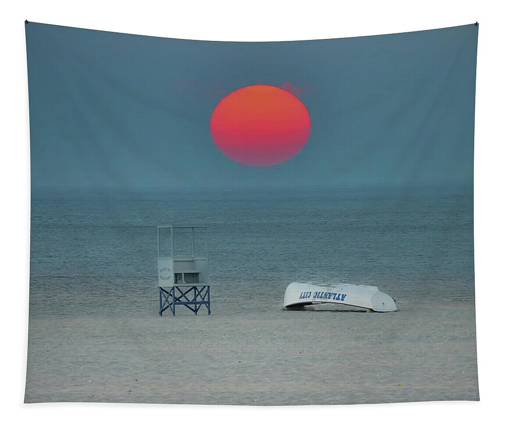 Big Tapestry featuring the photograph Big Red Sun - Atlantic City by Bill Cannon