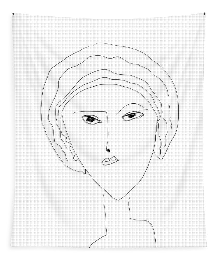 Apple Pencil Drawing Tapestry featuring the drawing Big Sis by Bill Owen