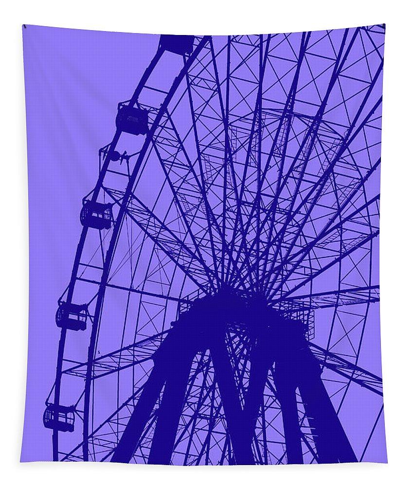 Big Tapestry featuring the digital art Big Wheel Blue by Eddie Barron