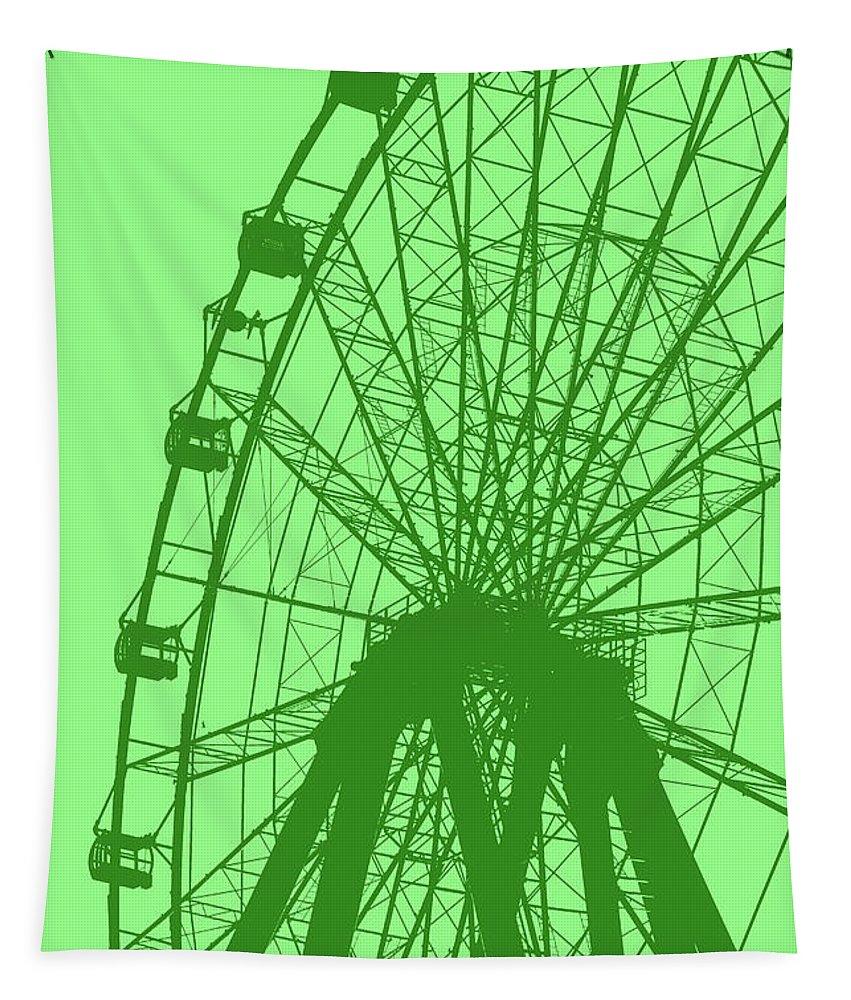 Big Tapestry featuring the digital art Big Wheel Green by Eddie Barron