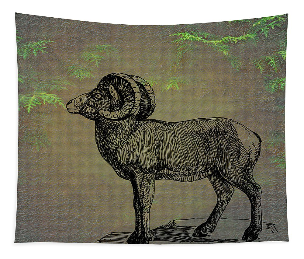 Bighorn Sheep Tapestry featuring the mixed media Bighorn Sheep by Movie Poster Prints