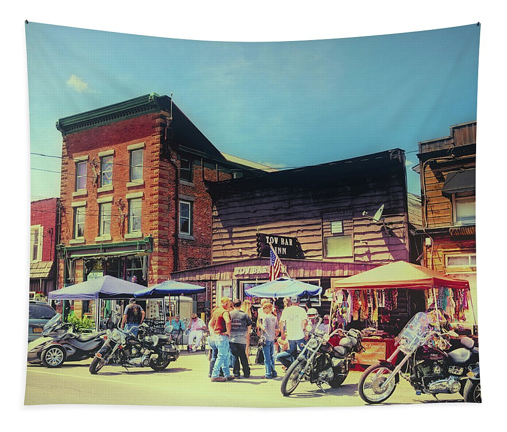 Bikes And Brews A Vintage Postcard Tapestry featuring the photograph Bikes And Brews A Vintage Postcard by David Patterson