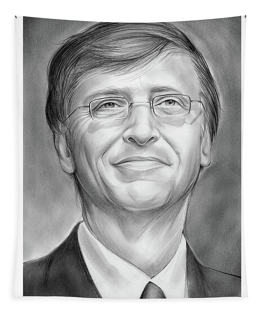 Bill Gates Tapestry featuring the drawing Bill Gates by Greg Joens